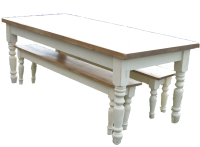 Traditional style, Farmhouse Kitchen/Dining Table and Bench Set.